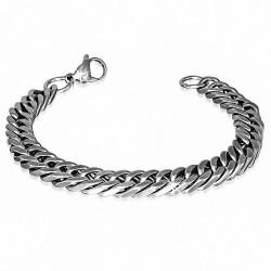 Bracelet hommes en acier avec maille cubaine largeur 9 mm