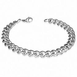 Bracelet pour hommes en acier argenté maille cubaine de 8 mm
