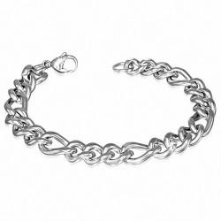 Bracelet pour hommes en acier argenté maille cubaine de 9 mm