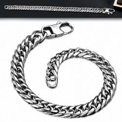 Bracelet pour hommes en acier argenté maille franco de 9 mm