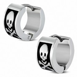 Boucles d'oreilles homme en acier crâne de pirate