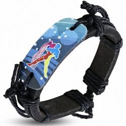 Bracelet homme en cuir noir Zodiaque Verseau