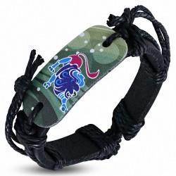 Bracelet homme en cuir noir Zodiaque Lion