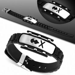 Bracelet homme caoutchouc noir plaque acier crâne pirate stylisé