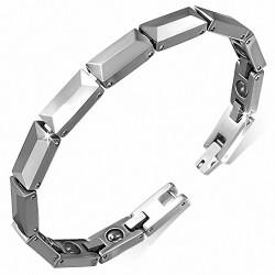 Bracelet homme en Tungstène magnétique maille panthère