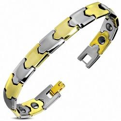 Bracelet homme en Tungstène maillons argentés et dorés