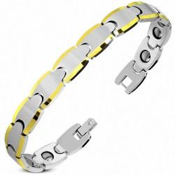 Bracelet homme en Tungstène avec bordures dorées
