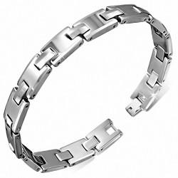 Bracelet homme en Tungstène maillons en forme de H
