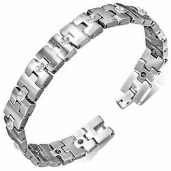 Bracelet homme en Tungstène magnétique avec pierres en zircon