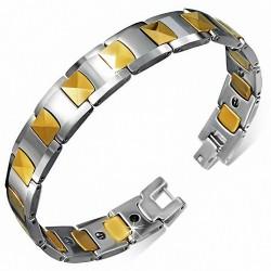 Bracelet homme magnétique en Tungstène avec maillons dorés