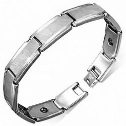 Bracelet homme en Tungstène plaques centre mat