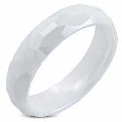 Bague homme en céramique blanche à facettes
