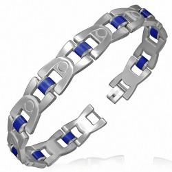 Bracelet homme maille H arrondie caoutchouc bleu