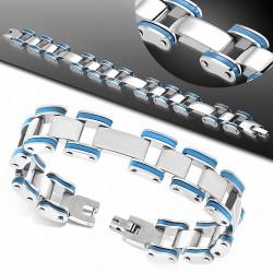 Bracelet homme acier bordure caoutchouc bleu