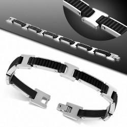 Bracelet homme acier et caoutchouc noir rainuré