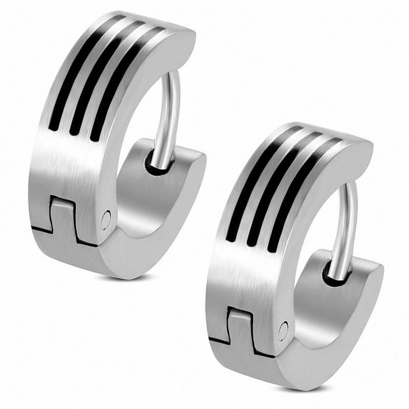 Boucles d'oreilles homme en acier 3 bandes