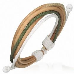 Bracelet homme cuir corde sable et vert