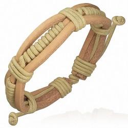 Bracelet homme cuir beige corde sable enroulée