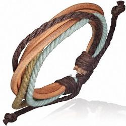 Bracelet homme cuir clair corde chocolat beige bleu