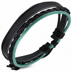 Bracelet homme cuir noir tressé corde verte noire