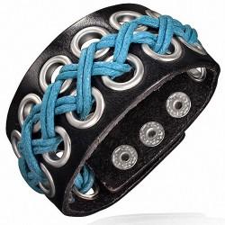 Bracelet homme cuir noir rivets corde bleue