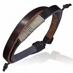 Bracelet homme cuir marron et noir corde sable