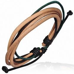 Bracelet homme cuir clair corde noire et vert foncé