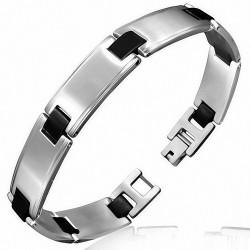 Bracelet homme acier argenté liens caoutchouc noir