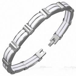 Bracelet homme acier et caoutchouc blanc