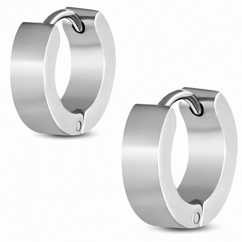 Boucles d'oreilles anneaux pour homme acier mat