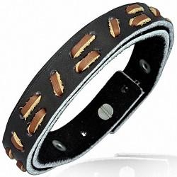 Bracelet homme cuir noir incrustes marron
