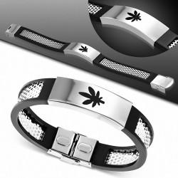 Bracelet homme acier et caoutchouc cannabis